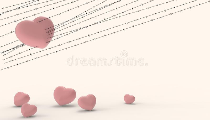 Barbwire and the Groups heart Red imprisoned and the illustrations of the disappointment and sad love modern Yellow paste. Background - 3D rendering stock illustration