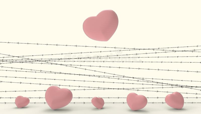Barbwire and the heart Red imprisoned and the illustrations of the disappointment and sad love contemporary modern Yellow paste. Background - 3D rendering stock illustration