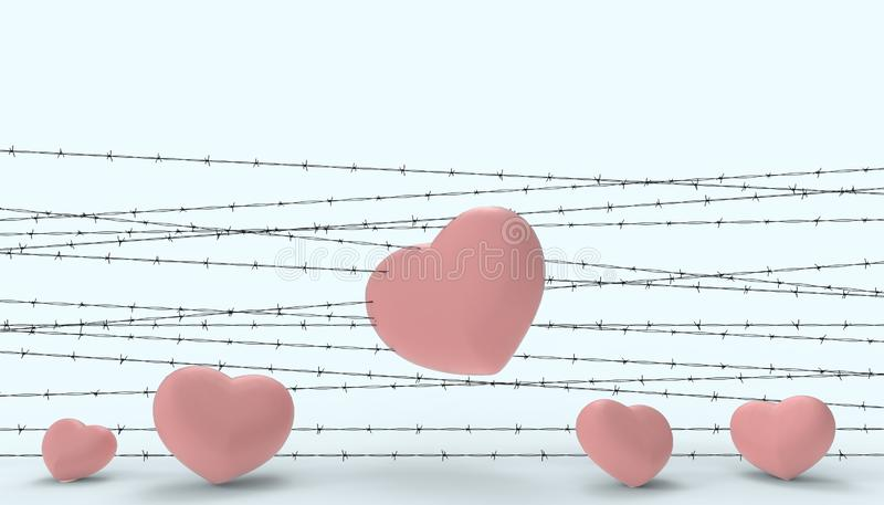 Barbwire and the heart was imprisoned and the illustrations of the disappointment and sad love contemporary modern Blue paste. Background - 3D rendering stock illustration