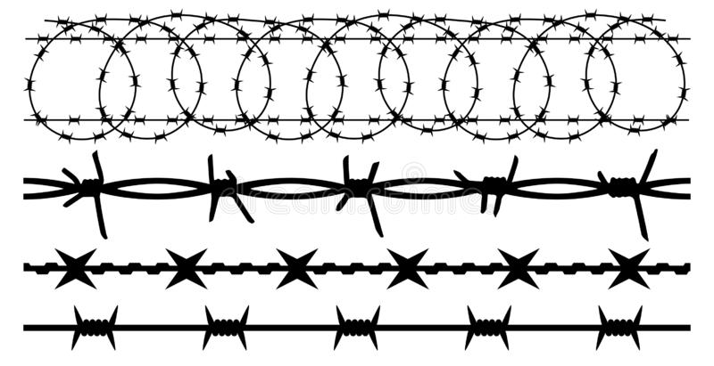 Barbwire set isolated silhouette, vector background. Barbed wire, seamless.  royalty free illustration