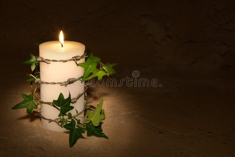 Barbwire und Kerze stockbild