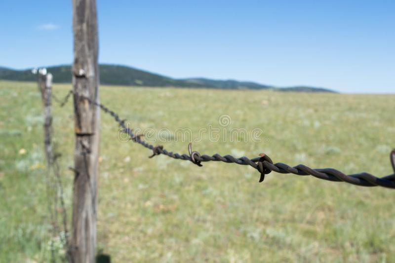 Barbwired fence on Wyoming prairies royalty free stock photos