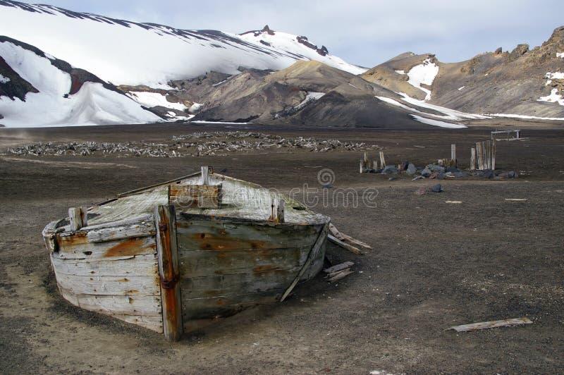 Barca Antartide di caccia alla balena fotografia stock