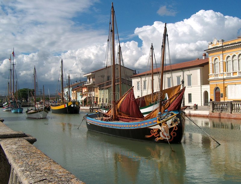 Barca antica Cesenatico stock photo