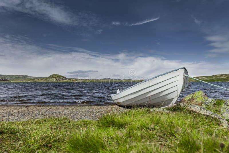Barca bianca ad una riva fotografia stock