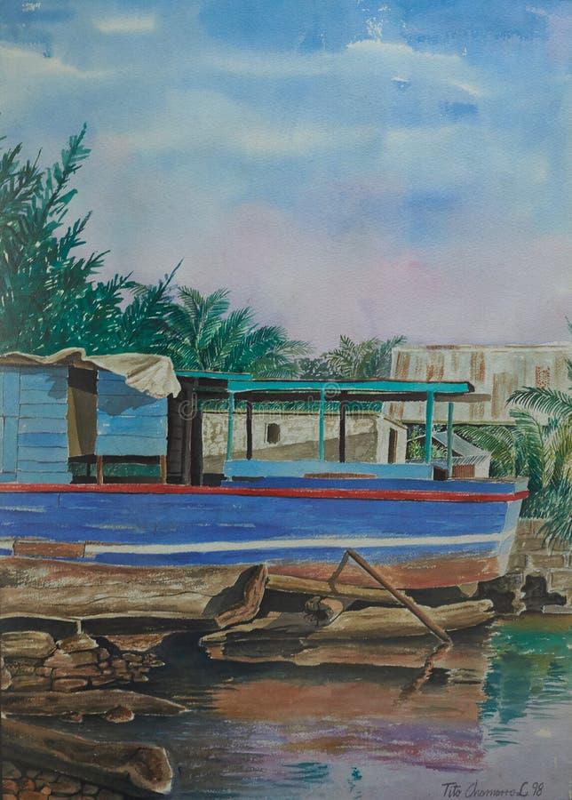 Barca blu in spiaggia caraibica immagini stock