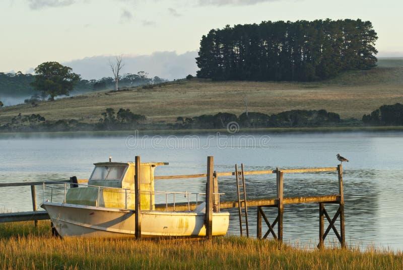 Barca in canne sulla banca di fiume fotografia stock