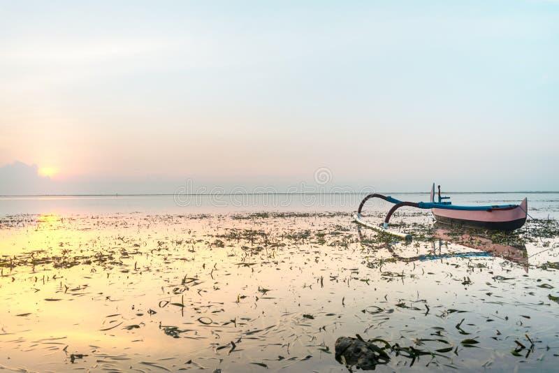 Barca che si ancora vicino alla spiaggia o alla spiaggia piena di alga ad alba o al tramonto con la riflessione leggera rosa gial immagini stock libere da diritti