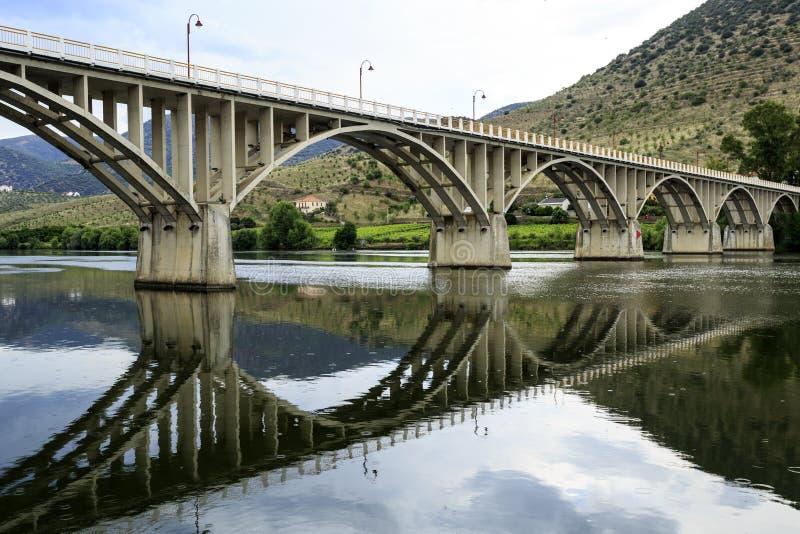 Barca de Alva – Bridge on Douro River. Bridge Almirante Sarmento Rodrigues, the first highway bridge on the Portuguese section of the Douro River, in stock photography