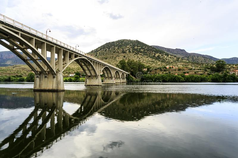 Barca de Alva – Bridge on Douro River. Bridge Almirante Sarmento Rodrigues, the first highway bridge on the Portuguese section of the Douro River, in royalty free stock photo