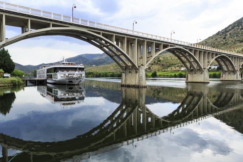 Barca de Alva – Bridge on Douro River. Bridge Almirante Sarmento Rodrigues, the first highway bridge on the Portuguese section of the Douro River, in royalty free stock photography