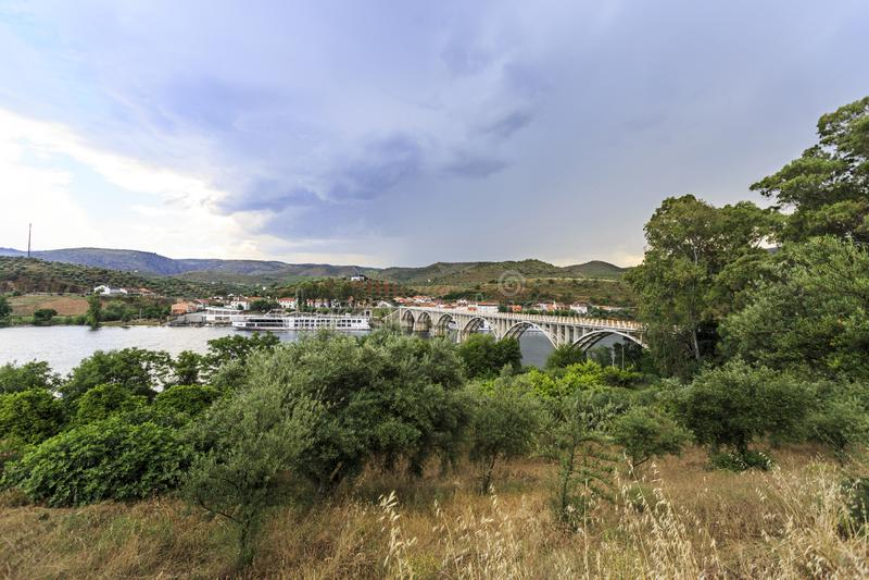Barca de Alva – Cruise Terminal and Bridge. View of the river cruise terminal and bridge, in Barca de Alva, near the Spanish border, Portugal stock images