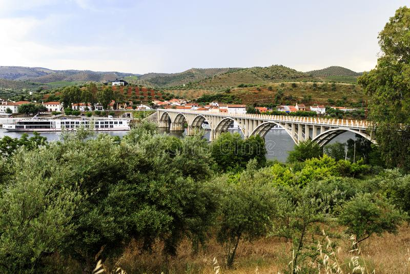Barca de Alva – Cruise Terminal and Bridge. View of the river cruise terminal and bridge, in Barca de Alva, near the Spanish border, Portugal royalty free stock image