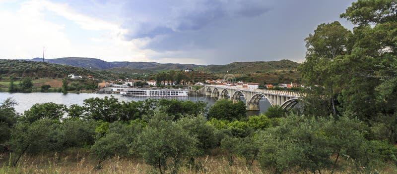 Barca de Alva – Cruise Terminal and Bridge. View of the river cruise terminal and bridge, in Barca de Alva, near the Spanish border, Portugal stock image