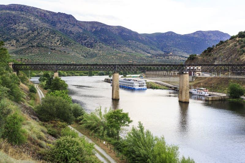 Barca de Alva – International Railway Bridge. View of the international railway bridge over the Agueda River, connecting Portugal to Spain and now stock image