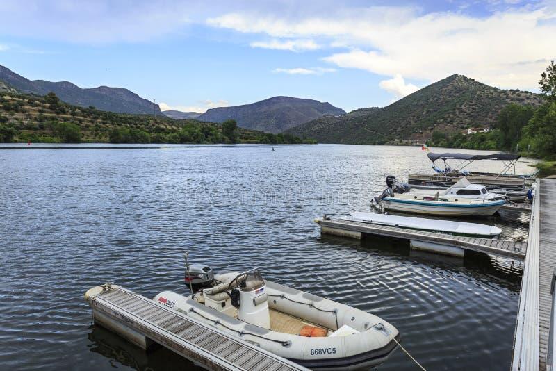 Barca de Alva – Recreational Marina on the Douro River. Recreational marina and boats on the Douro River, in Barca de Alva, Portugal royalty free stock images