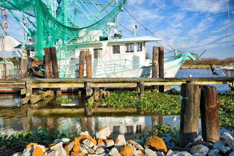 Barca del gamberetto della Luisiana immagine stock