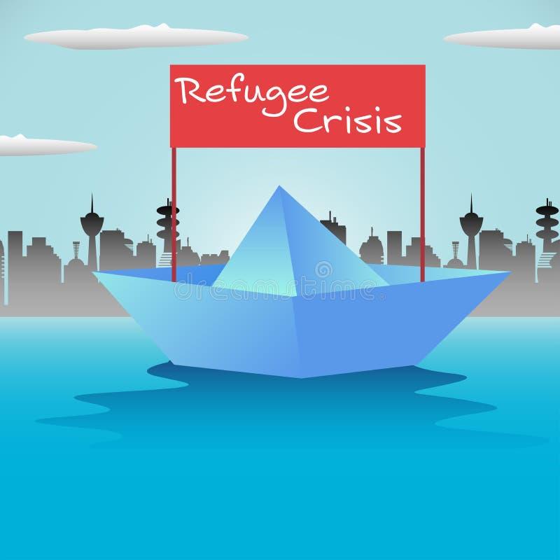 Barca del rifugiato illustrazione di stock
