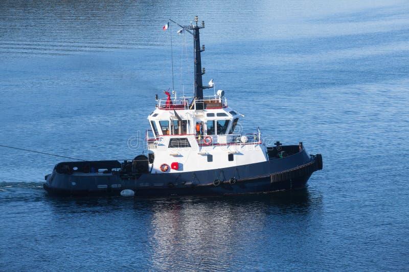 Barca del rimorchiatore di Persevero in corso sull'acqua di mare fotografia stock libera da diritti