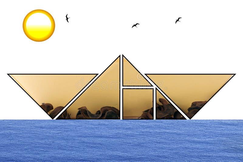 Barca del tangram immagine stock libera da diritti