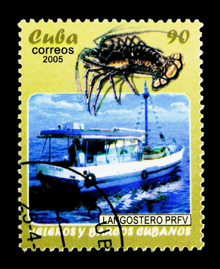 Barca dell'aragosta, serie cubano delle barche a vela e delle barche, circa 2005 fotografia stock