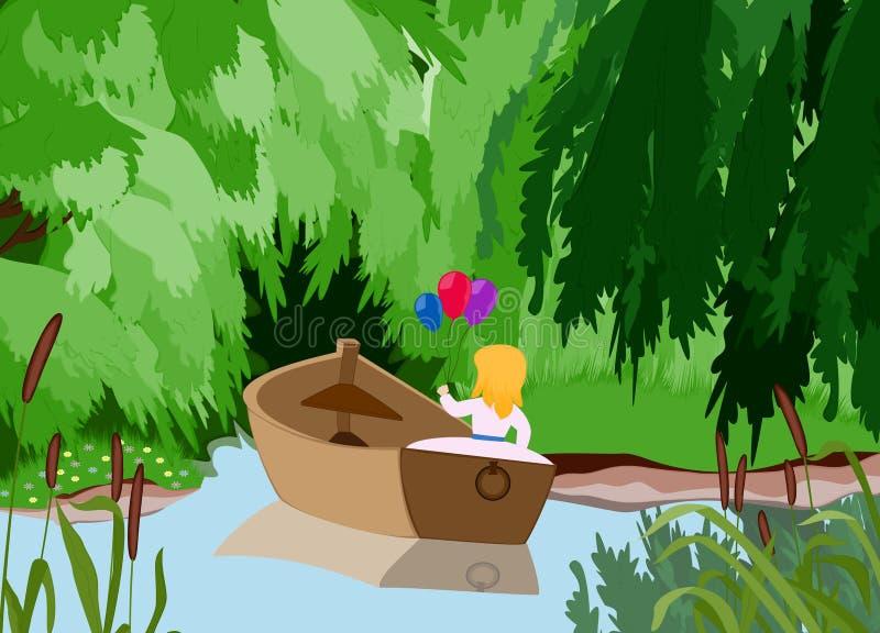 Barca della ragazza illustrazione di stock