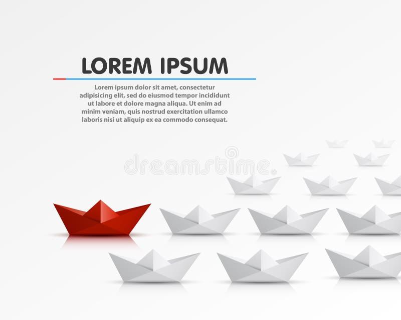 Barca di carta del capo differente illustrazione di stock