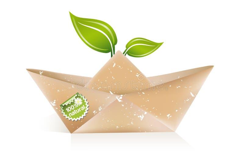Barca di carta di origami illustrazione vettoriale