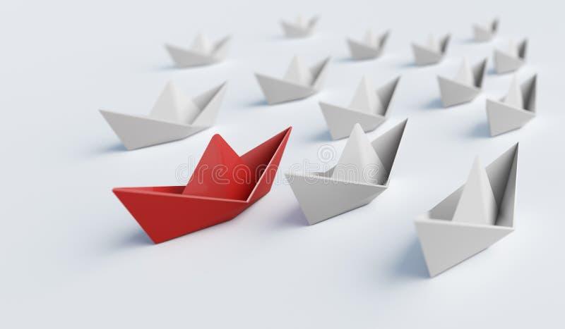 Barca di carta rossa davanti ad altre Direzione e concetto di differenza 3D ha reso l'illustrazione illustrazione vettoriale
