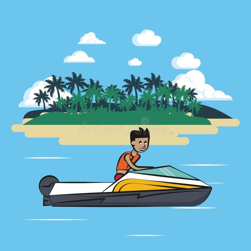 Barca di corsa sul mare royalty illustrazione gratis