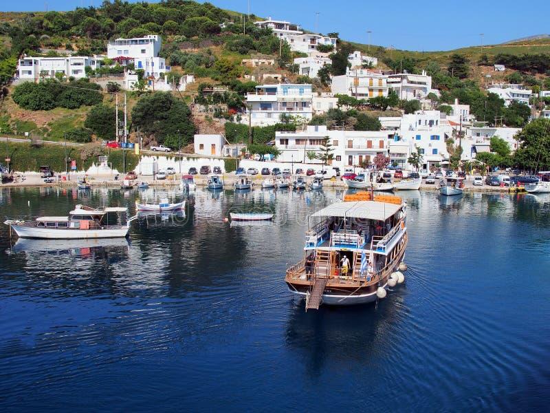 Barca di crociera di giorno, isola greca egea di Skyros, Grecia immagine stock libera da diritti