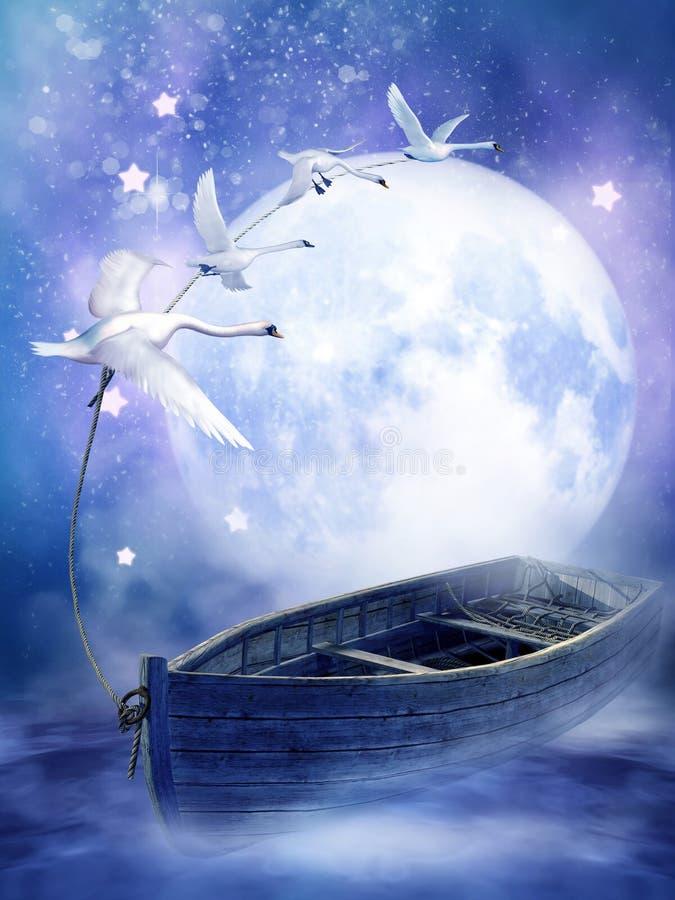 Barca di fantasia con i cigni illustrazione di stock