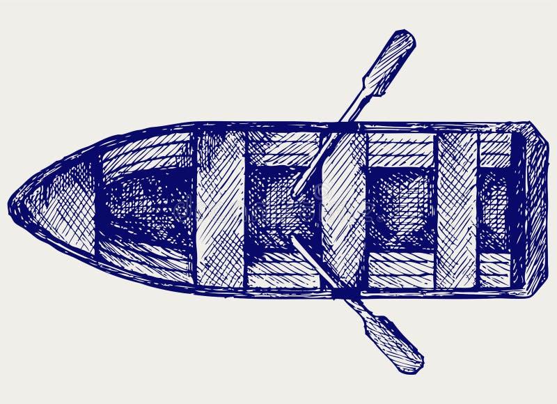 Barca di legno con le pagaie royalty illustrazione gratis