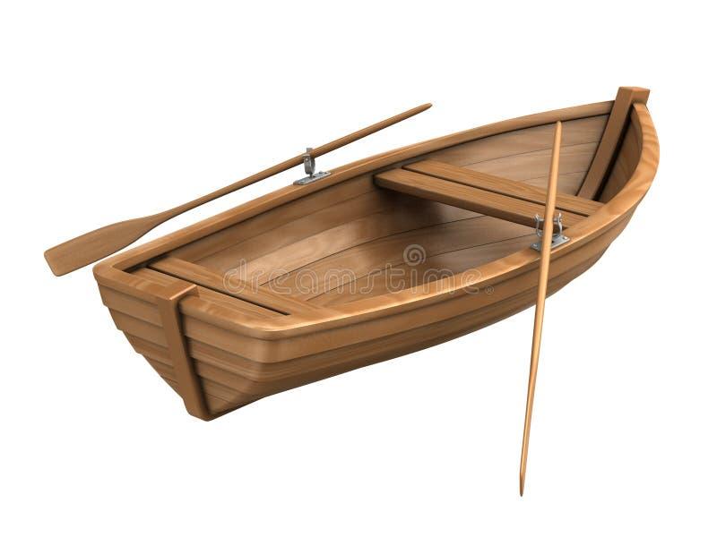 Barca di legno isolata su bianco
