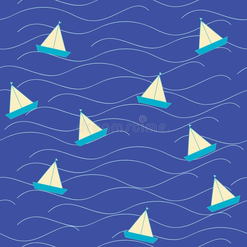 Barca di origami di Nautica in mare illustrazione vettoriale