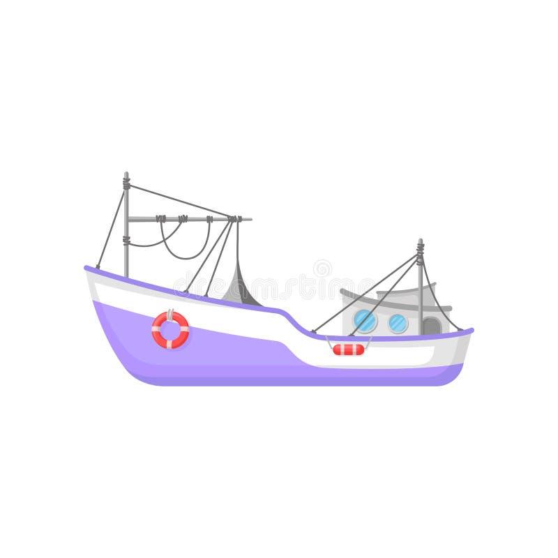 Barca di pesca professionale con pescar a strascicoe ingranaggio ed i salvagente Icona piana di vettore della nave porpora Proget illustrazione vettoriale