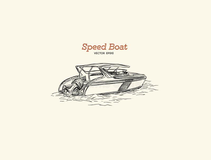 Barca di velocità di vettore, vettore di tiraggio della mano royalty illustrazione gratis