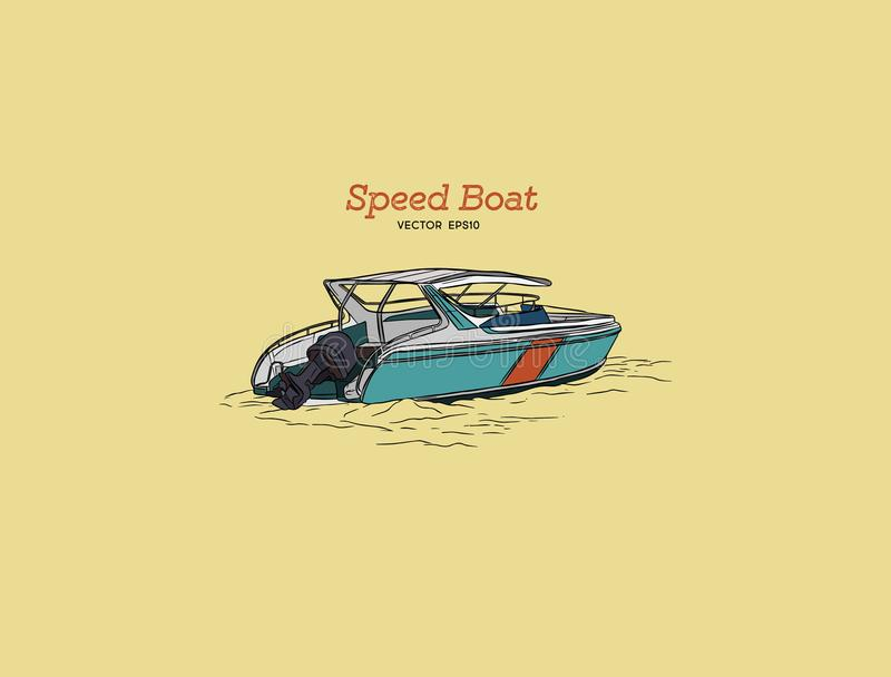 Barca di velocità di vettore, vettore di tiraggio della mano illustrazione vettoriale