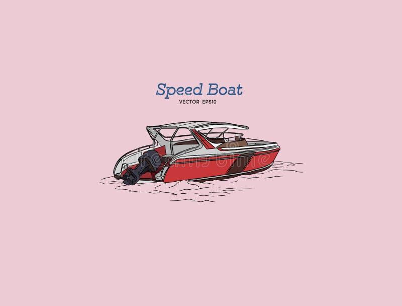 Barca di velocità di vettore, vettore di tiraggio della mano illustrazione di stock