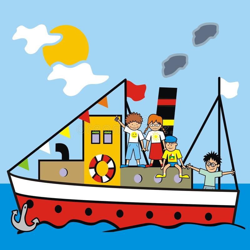 Barca e bambini illustrazione vettoriale
