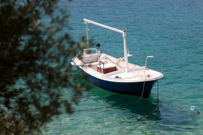 Barca e Olive Tree fotografia stock