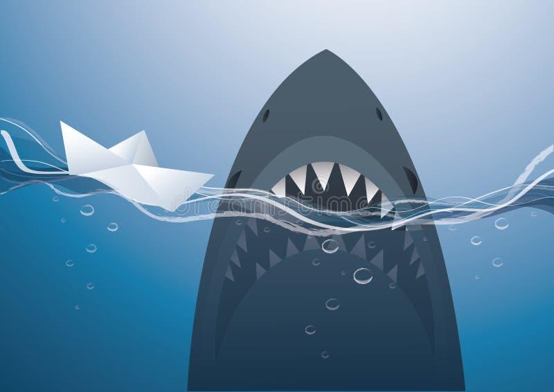 Barca e squalo di carta nel vettore blu del fondo del mare illustrazione di stock