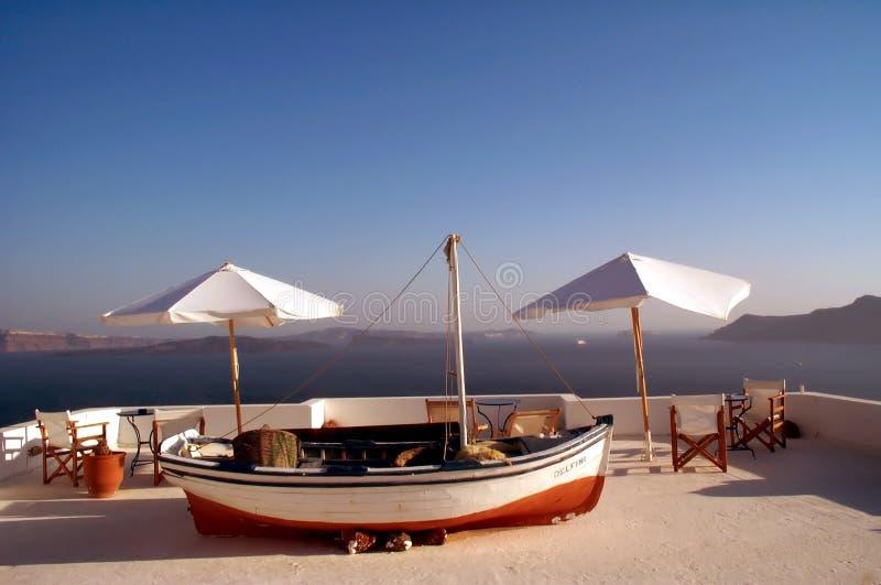 Barca e tabelle fotografia stock