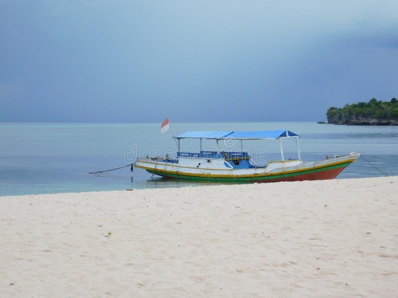 Barca, estratto, acqua, oceano, spiaggia, bandiera immagini stock libere da diritti
