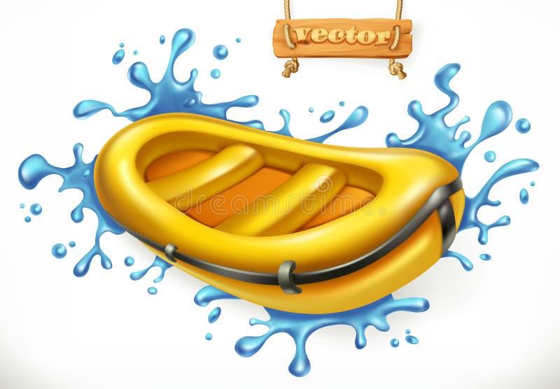 Barca gonfiabile Rafting dell'acqua bianca, icona di vettore illustrazione di stock