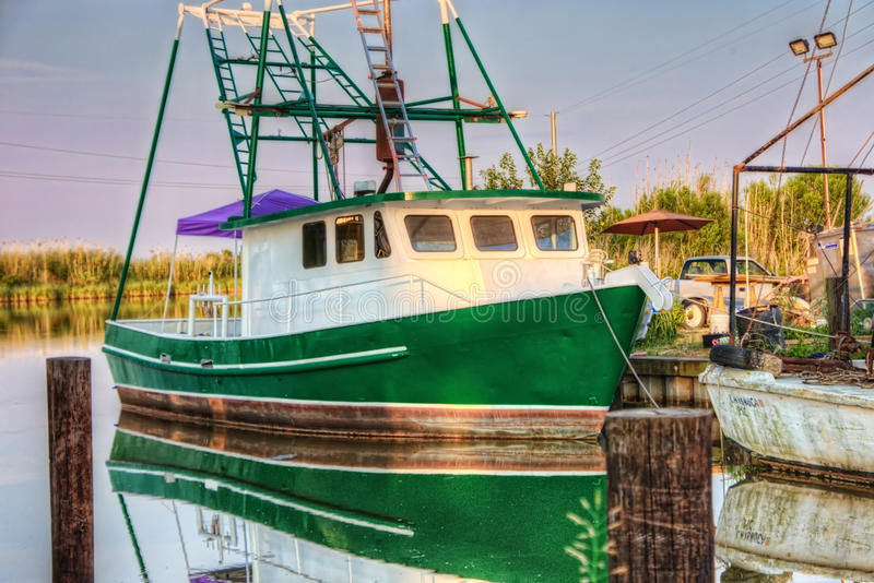Barca HDR del gamberetto della Luisiana fotografia stock