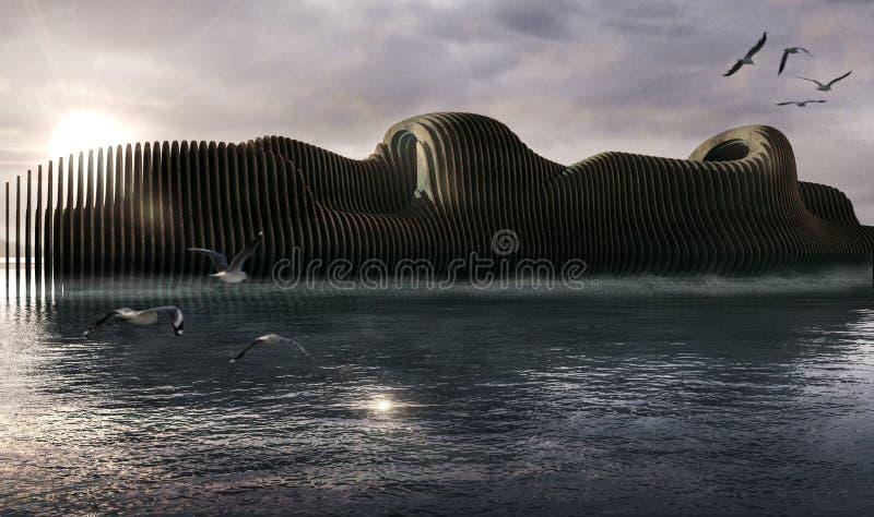 Barca immaginaria, paesaggio del mare di tramonto illustrazione di stock