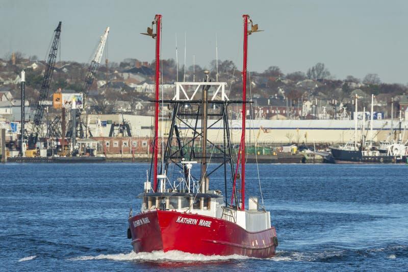 Barca Kathryn Marie di pesca professionale in corso da New Bedford fotografia stock libera da diritti