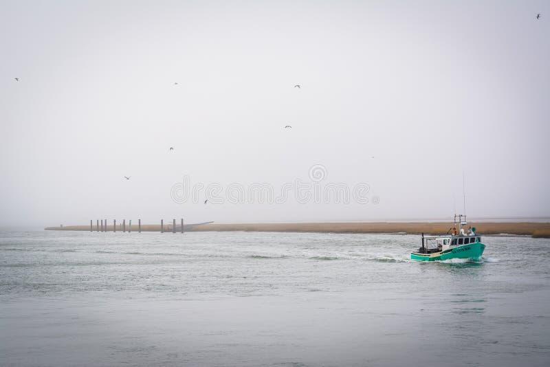 Barca nella baia di Chincoteague, nell'isola di Chincoteague, la Virginia immagine stock