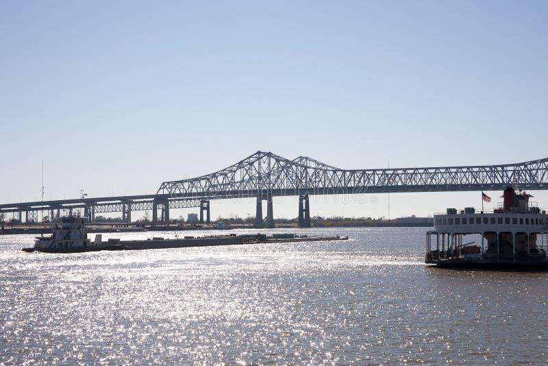 Barca no rio Mississípi fotos de stock royalty free